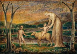 Blake, William; Our Lady with the Infant Jesus Riding on a Lamb with Saint John; Paintings Collection; http://www.artuk.org/artworks/our-lady-with-the-infant-jesus-riding-on-a-lamb-with-saint-john-30607