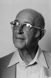 ca. April 8-15, 1979, Los Angeles, California, USA --- Psychotherapist Carl Rogers poses backstage at the 1979 World Symposium on Humanity, where he acted as keynote speaker. Rogers was one of the founders of humanistic psychology, which promotes a more person-to-person approach to the traditional therapist-patient relationship, and emphasizes the responsibility and intention in human behavior, as opposed to the more determinant ideas inherent in behaviorism and psychoanalysis. --- Image by © Roger Ressmeyer/CORBIS