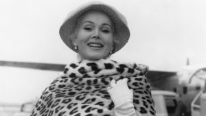 Hungarian-American actress Zsa Zsa Gabor arrives at London Airport, 21st June 1956. (Photo by A. W. Cox/Hulton Archive/Getty Images)