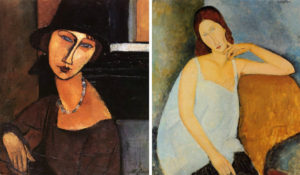 Amedeo-Modigliani-Jeanne-Hebuterne-with-Hat-and-Necklace-photo-credits-allpaintings.org-left-Portrait-of-Jeanne-Hebuterne-1918-photo-credits-whatsaboundart.wordpress.com-right